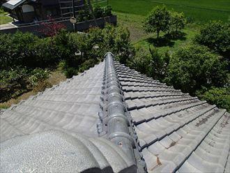 青梅市の瓦屋根調査、棟瓦のズレ