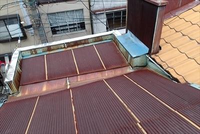 店舗のトタン屋根葺き替え工事|渋谷区