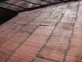 豊島区 屋根カバー工法前の点検 劣化しているスレート
