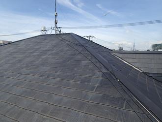 大屋根、塗膜の色あせ