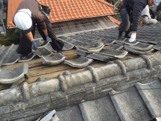 屋根の葺き替え瓦おろし