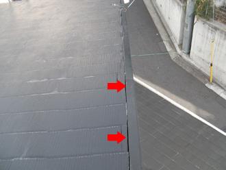 豊島区 屋根の板金付近に隙間ができている