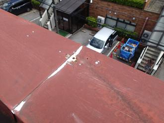 江戸川区のアパート屋根葺き替え工事の点検の様子、パラペットの笠木部分の釘抜け