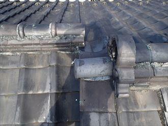 江東区で瓦屋根からコロニアルクァッドへ屋根葺き替え、漆喰の劣化