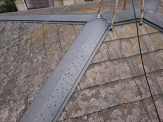 棟板金に雹の跡