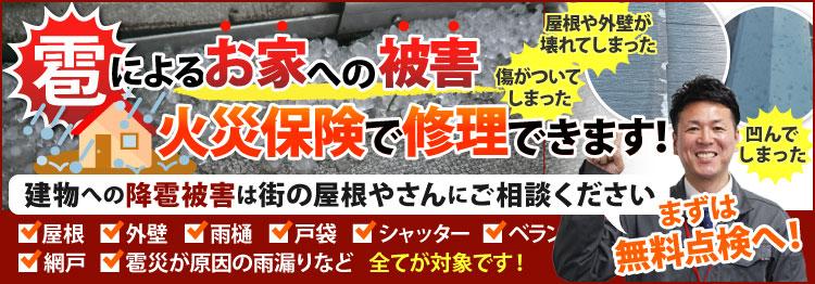東京の雹災害、火災保険で修理します