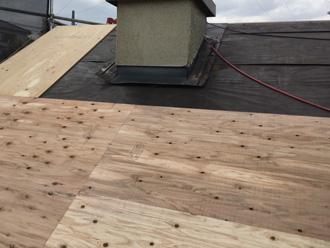 中野区 屋根葺き替え工事 野地板設置