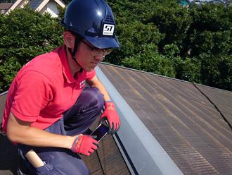 担当による屋根の上の点検