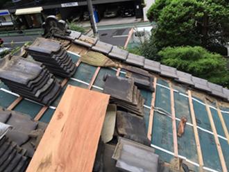 渋谷区 既存の屋根材を再度使って葺き直し