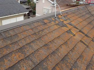 強風で棟板金が飛散した屋根