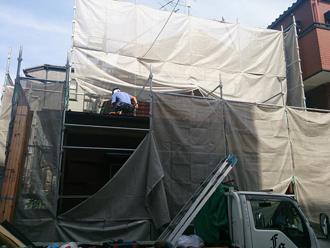八王子市 足場を仮設し屋根葺き替え工事を実施