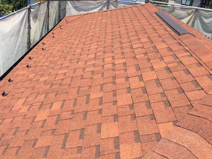 練馬区でS型瓦からアスファルトシングル(テラコッタ調)への屋根葺き替え工事