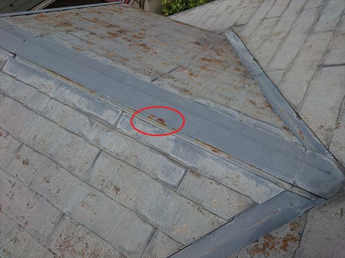 屋根に見られる錆とカビ