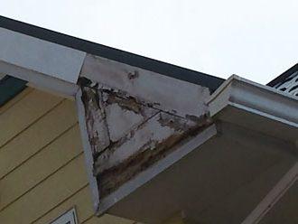 破風板の下端の腐食