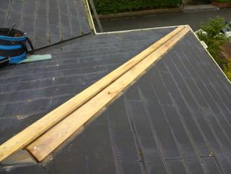 三鷹市 棟板金交換 新しい貫板設置