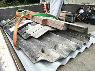 府中市 工場の波板 撤去した波板