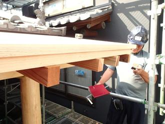 狛江市 庇を木材を加工して作る