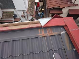 西東京市ひばりが丘で台風で飛んでしまった屋根の笠木(かさぎ)を新しく交換します