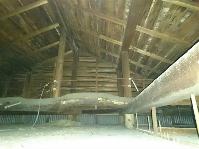 小屋裏から雨漏りを確認します