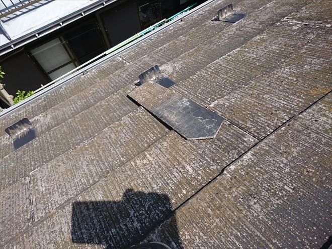 多摩市桜ケ丘で劣化して脱落したスレート屋根を葺き替え工事