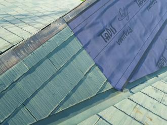 調布市深大寺北町 屋根カバー工法 棟の防水紙設置