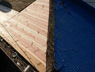 昭島市武蔵野 屋根葺き替え工事 野地板を交換