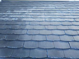 屋根が変色している部分は剥離が酷い部分