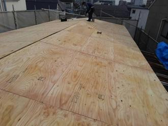 構造用合板の取り付け完了