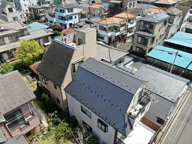 屋根塗装空撮