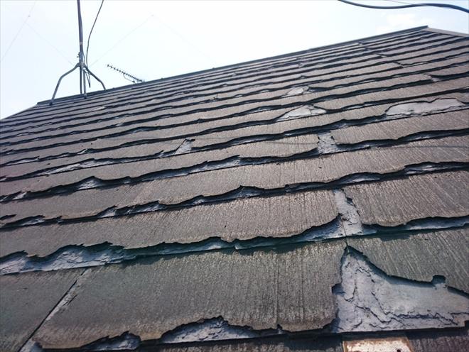 三鷹市中原でボロボロに劣化したパミールは葺き替え工事が最適な工事方法です