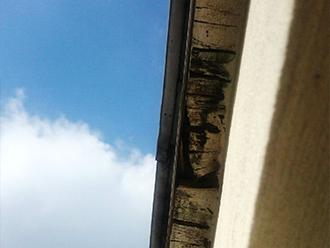 木材の損傷が激しい軒天