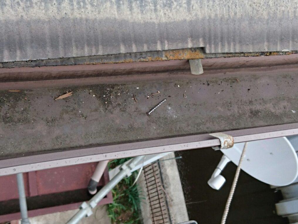 雨樋に落ちたネジ