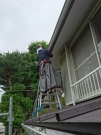 二階軒樋の補修