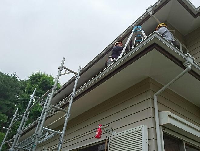 二階の雨樋修理
