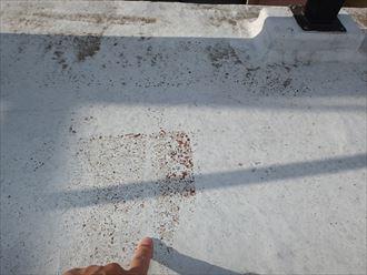テラス床のトップコート剥がれ
