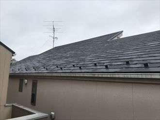 屋根材はパミール。年数が経つと剥離していきます