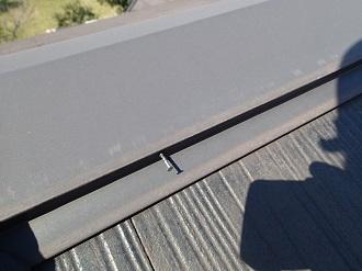 釘の浮きが見られる棟板金