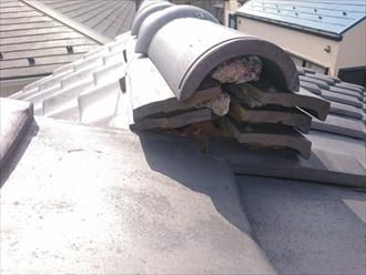 杉並区成田西でズレ始めた瓦屋根の棟を取り直し工事します