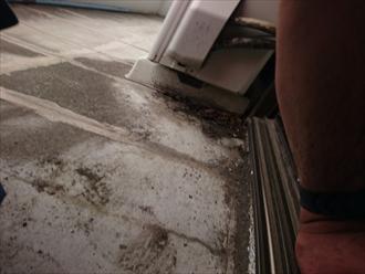 床の勾配が緩いので雨水が溜まります