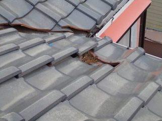 二階瓦破損部分