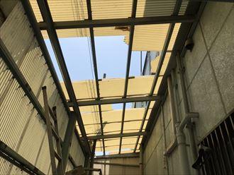 倉庫内側から見た波板飛散状況