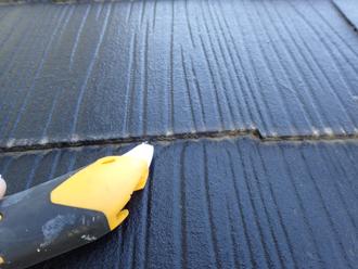 縁切りされていないスレートの重なり部分