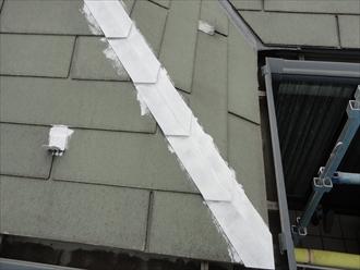棟板金と雪止めが金属部分です