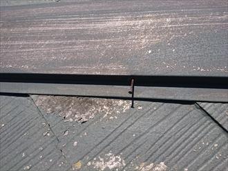 下地の貫板が腐食しているので釘が浮いてきます