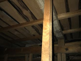 小屋裏の天井に木材の腐食が発生