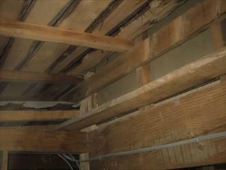 小屋裏に雨漏りの形跡が見られます