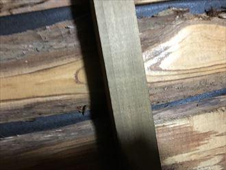 小屋裏の木に水が染みてきました