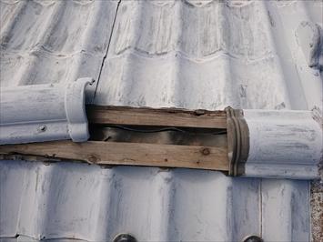 木に釘で棟を固定するのですが腐食していて釘が効いていません