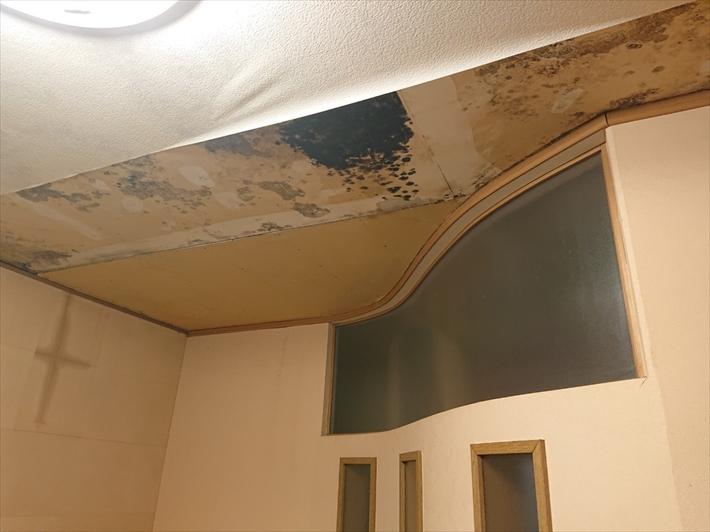 天井は雨漏りによってボードがグズグズです