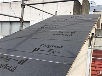 防水紙を新たに敷設